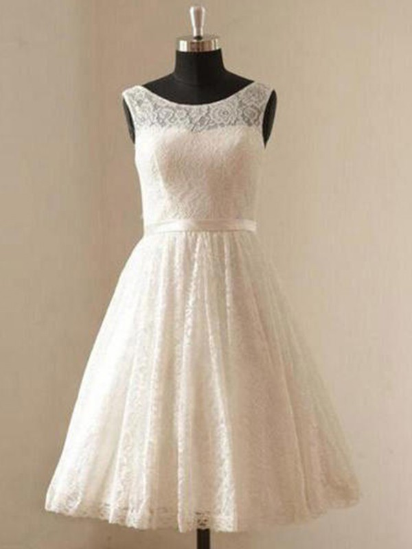 A-Line/Princess Scoop Lace Short Wedding Dress