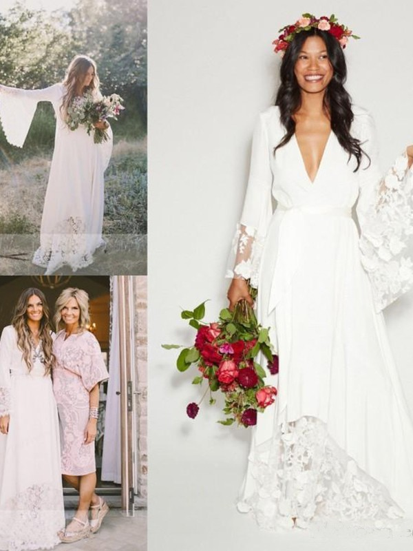 A-Line/Princess V-neck Chiffon Long Sleeves Long Wedding Dress