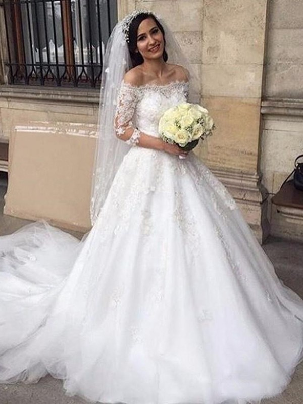 Ball Gown Tulle Off-the-Shoulder 3/4 Sleeves Long Wedding Dress