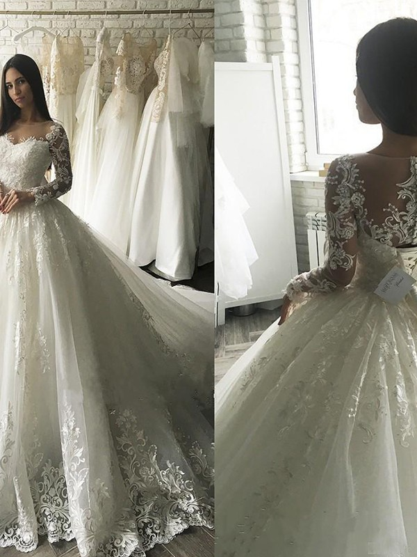 Ball Gown Tulle Scoop Long Sleeves Long Wedding Dress