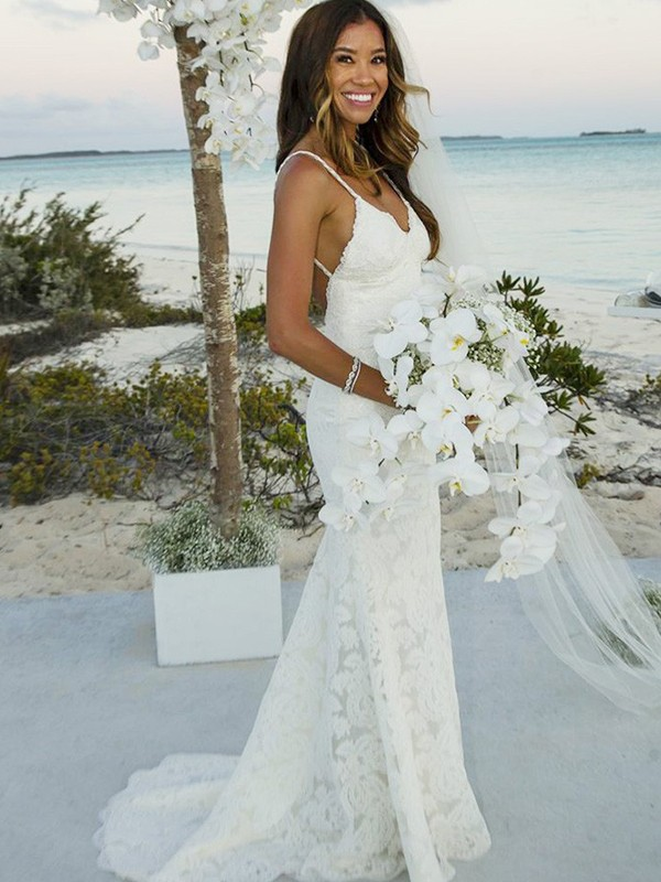 Mermaid Lace Spaghetti Straps Long Wedding Dress
