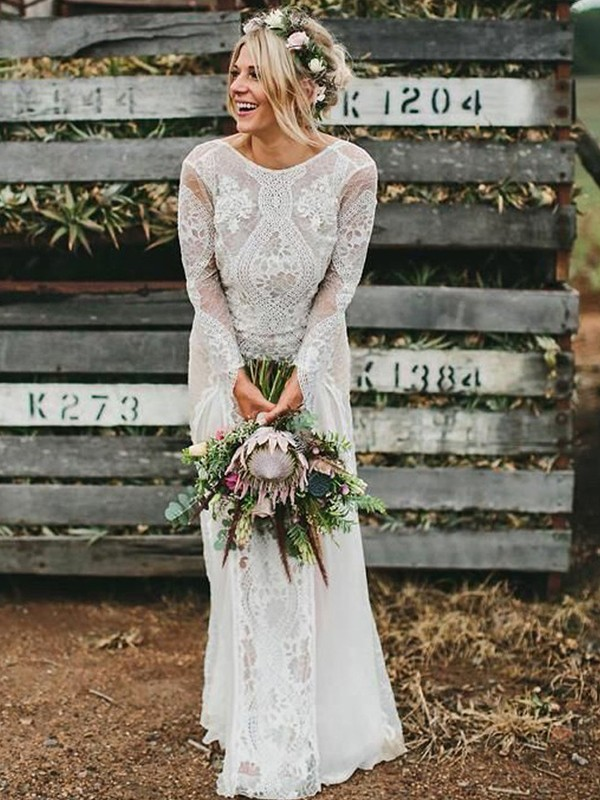 Sheath/Column Lace Scoop Long Sleeves Long Wedding Dress