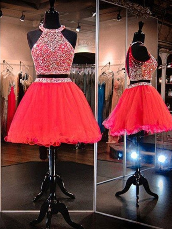 A-Line/Princess Halter Tulle Short Two Piece Dress
