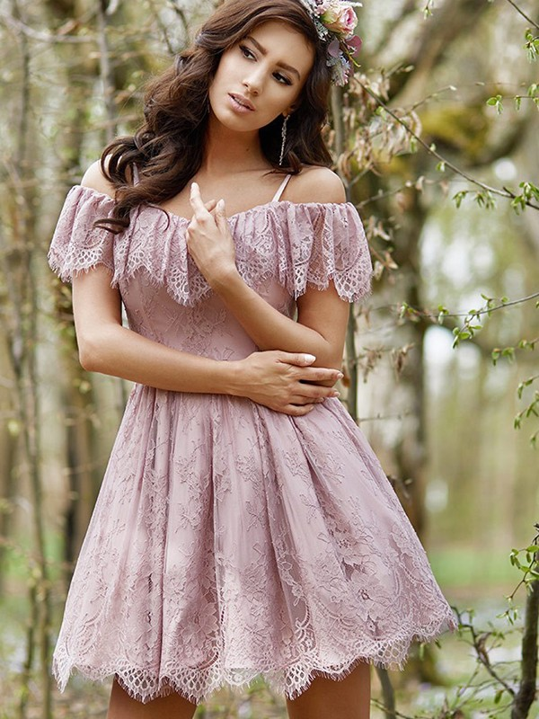 A-Line/Princess Lace Off-the-Shoulder Short Dress
