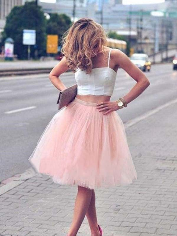 A-Line/Princess Tulle Spaghetti Straps Short Two Piece Dress