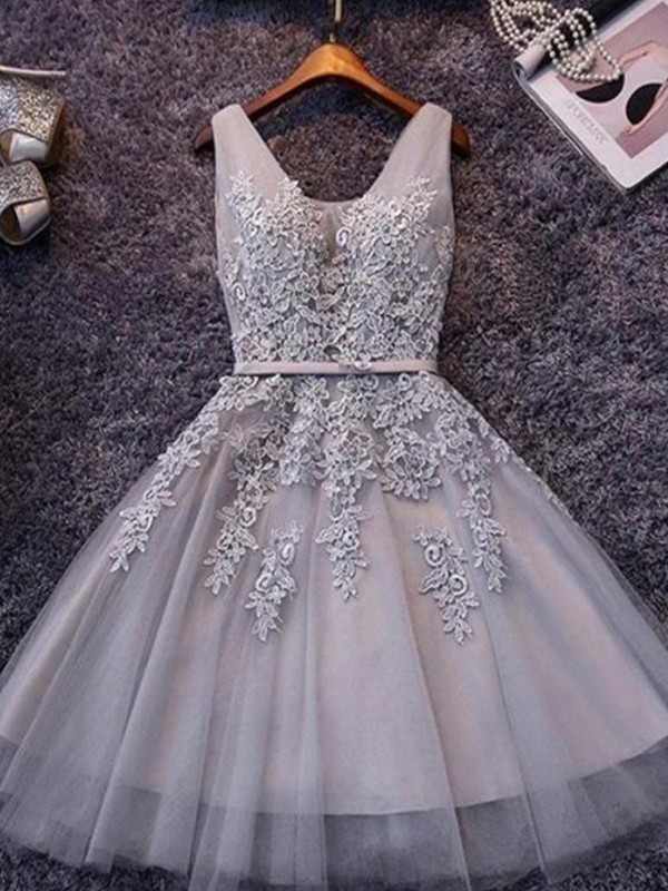 A-Line/Princess Straps Tulle Short Dress