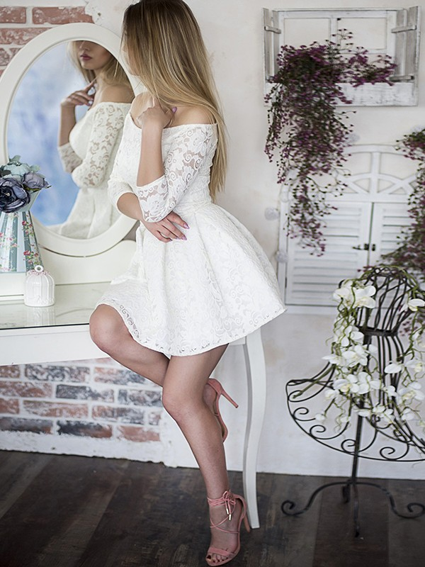 A-Line/Princess Off-the-Shoulder Lace 3/4 Sleeves Short Dress