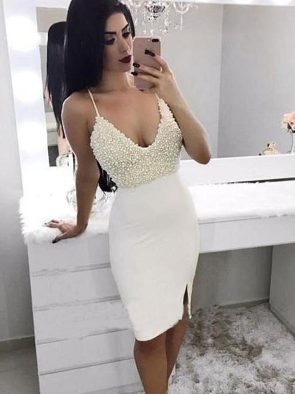 Sheath/Column Spaghetti Straps Satin Short Dress