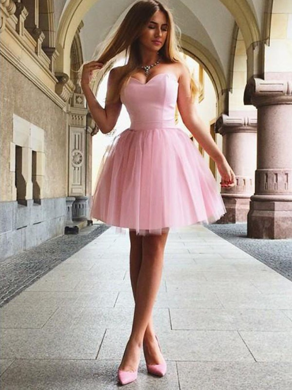 A-Line/Princess Sweetheart Satin Short Dress
