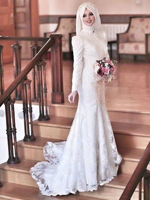 Mermaid High Neck Long Sleeves Long Tulle Wedding Dress