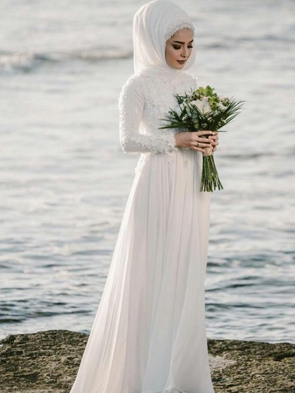 A-Line/Princess Jewel Long Sleeves Long Chiffon Wedding Dress