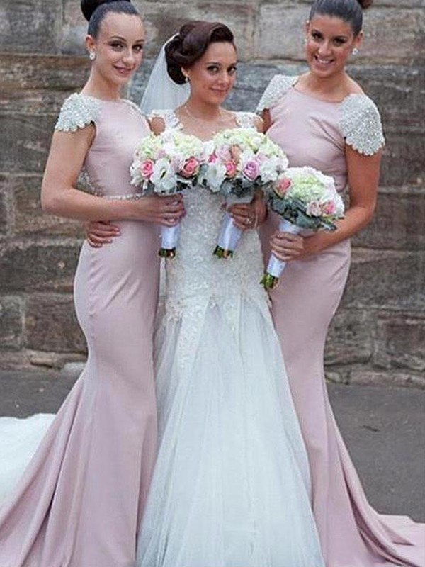 Mermaid Bateau Long Satin Bridesmaid Dress