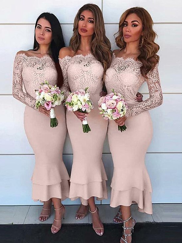 Sheath/Column Off-the-Shoulder Long Sleeves Ankle-Length Jersey Bridesmaid Dress
