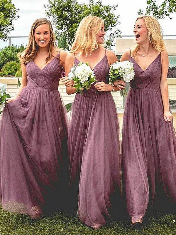 A-Line/Princess Spaghetti Straps Long Tulle Bridesmaid Dress