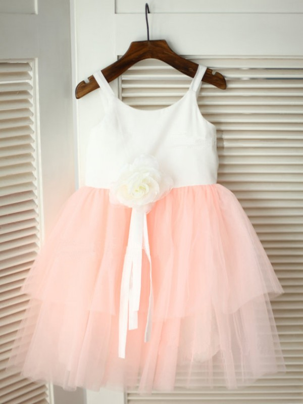 A-Line/Princess Spaghetti Straps Tea-length Tulle Flower Girl Dress