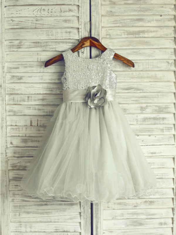 A-Line/Princess Scoop Short Net Flower Girl Dress