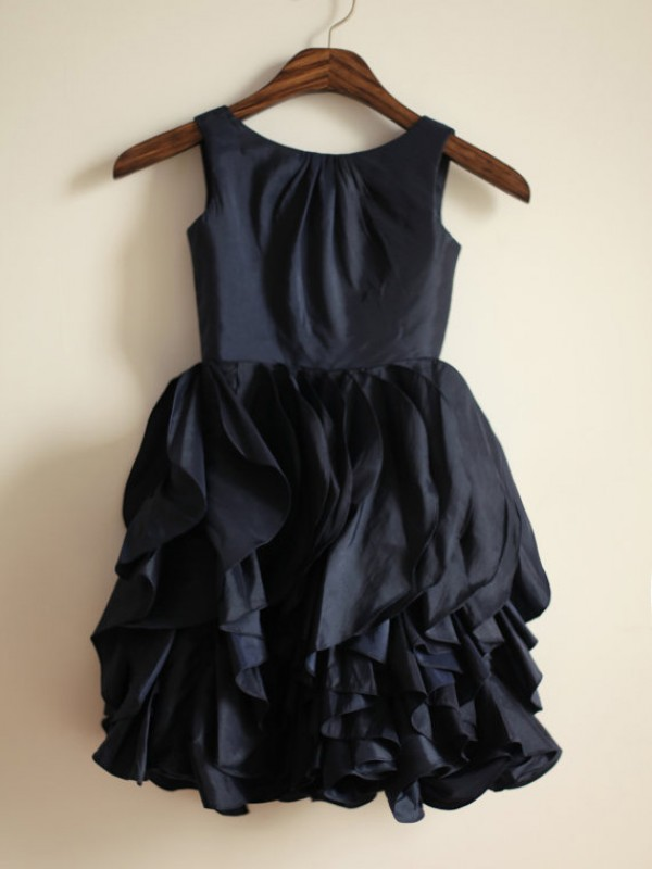 A-Line/Princess Jewel Tea-length Taffeta Flower Girl Dress
