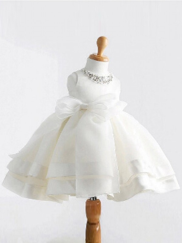 Ball Gown Jewel Tea-length Satin Flower Girl Dress