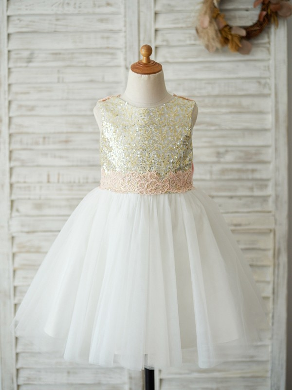 A-Line/Princess Sequin Tulle Scoop Knee-Length Flower Girl Dresses