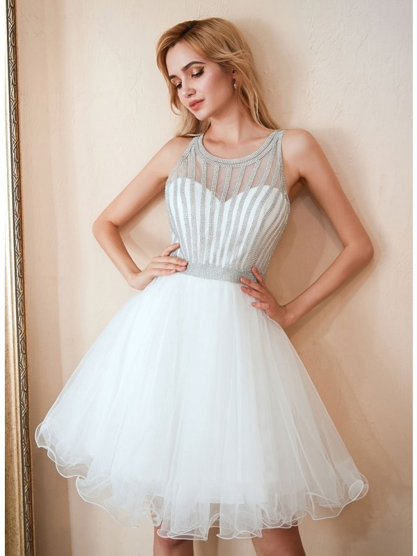 A-Line/Princess Tulle Beading Scoop Short/Mini Dresses