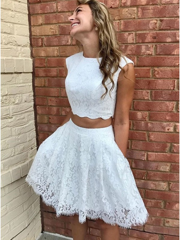 A-Line/Princess Lace Lace Scoop Short/Mini Dresses