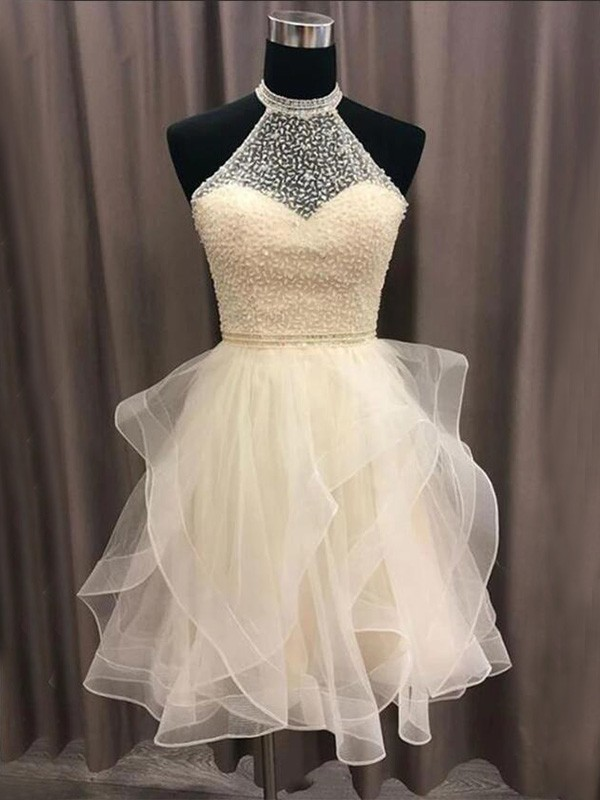 A-Line/Princess Organza Beading Halter Short/Mini Dresses