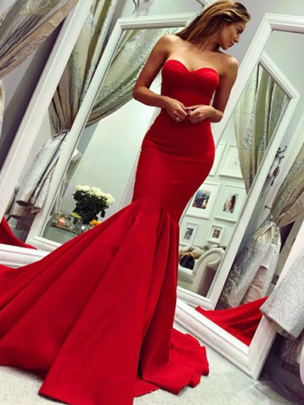 Mermaid Ruffles Strapless Court Train Satin Dresses