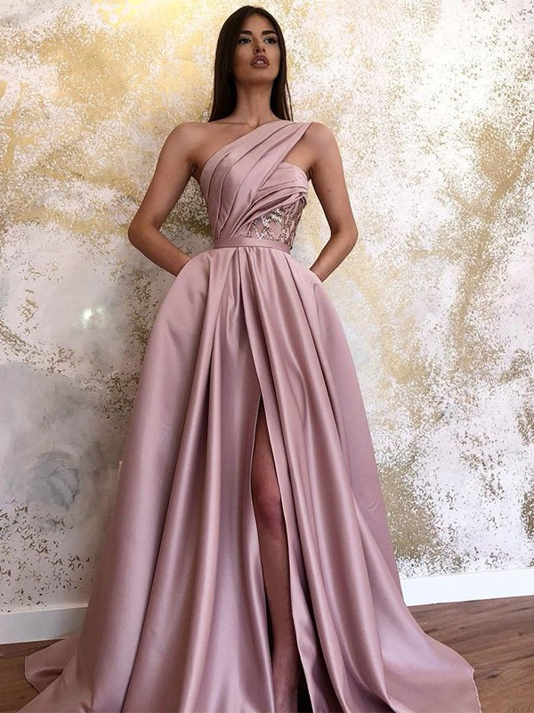 A-Line Satin Ruched One-Shoulder Sweep/Brush Train Dresses