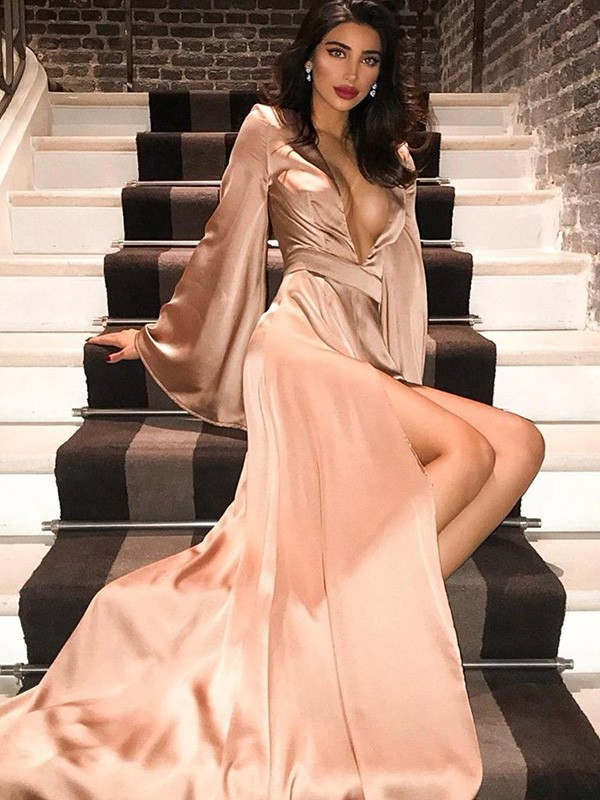 A-Line V-neck Silk like Satin Long Sleeves Sweep/Brush Train Ruched Dresses
