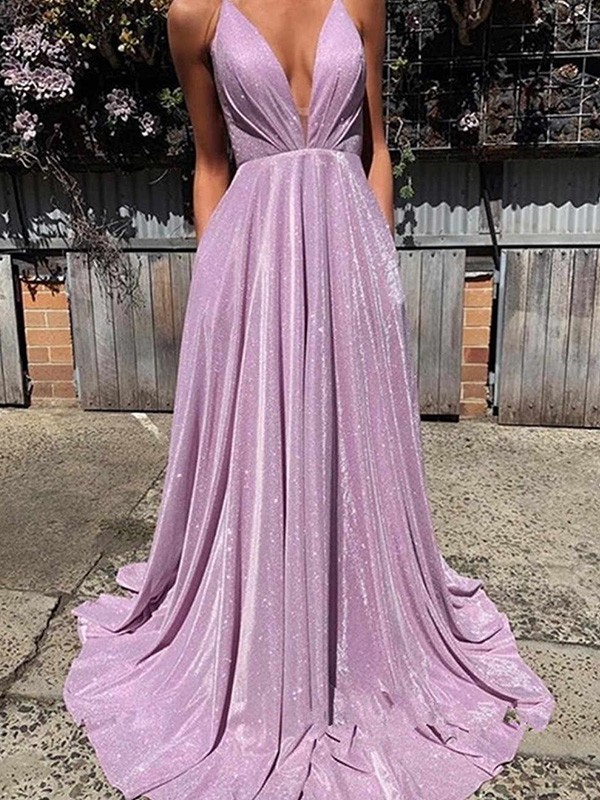 A-Line V-neck Sleeveless Long Satin Ruffles Dresses