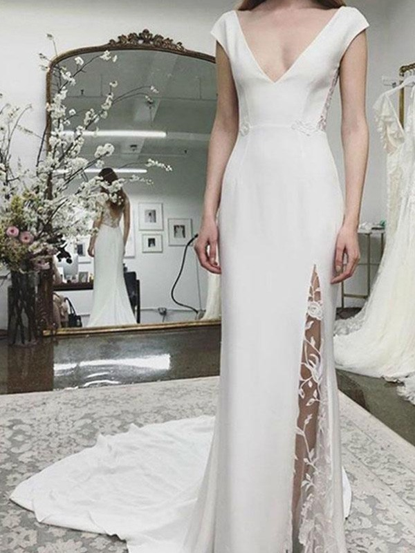 Sheath V-neck Sleeveless Long Satin Lace Wedding Dresses