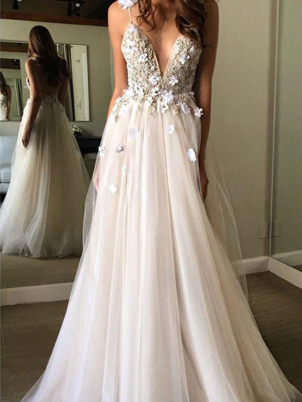 A-Line V-neck Sleeveless Long Tulle Beading Wedding Dresses