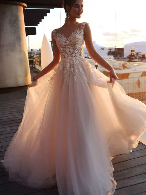 A-Line Bateau Short Sleeves Long Tulle Applique Wedding Dresses