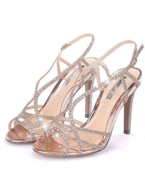 Rhinestone Stiletto Heel Peep Toe Sandals