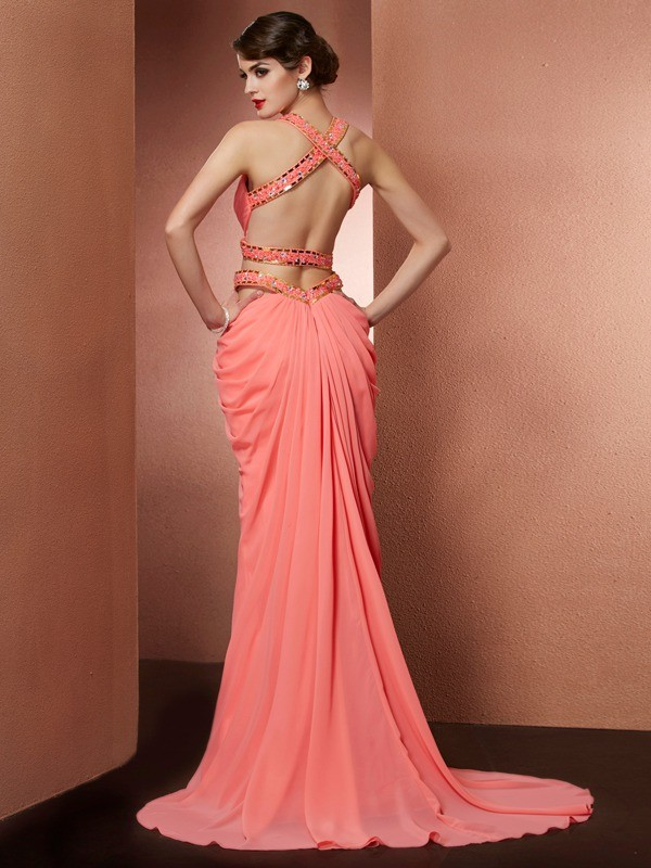 A-Line/Princess Halter Long Chiffon Dress