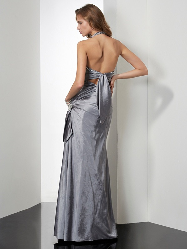 Mermaid Halter Long Taffeta Dress