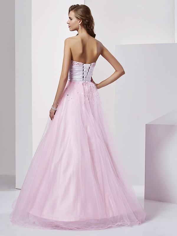 Ball Gown Strapless Long Elastic Woven Satin Quinceanera Dress
