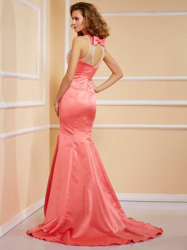 Sheath/Column Jewel Long Satin Dress