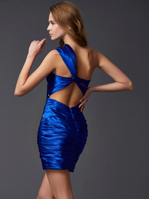Sheath/Column One-Shoulder Short Silk like Satin Cocktail Dress