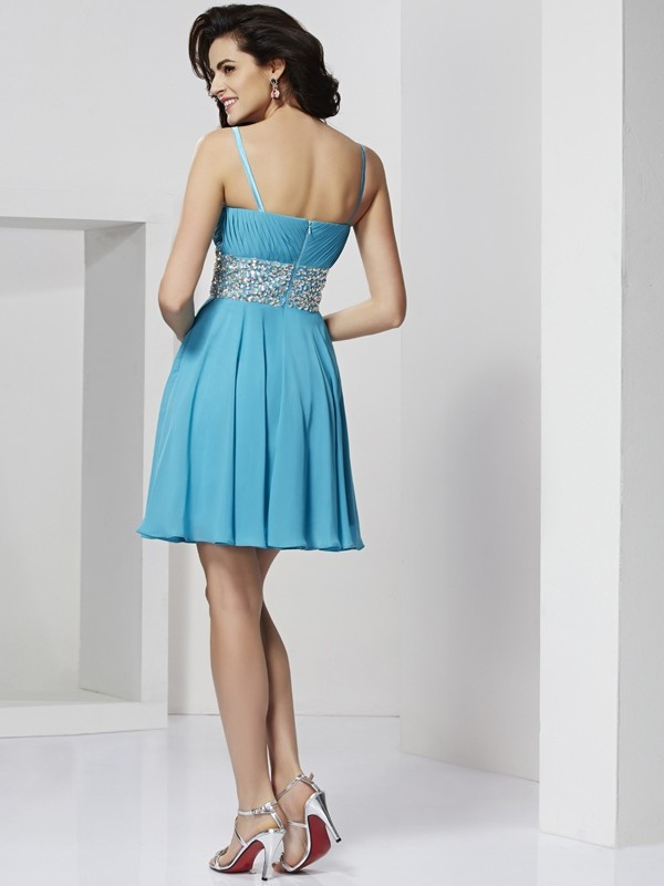 A-Line/Princess Spaghetti Straps Short Chiffon Cocktail Dress