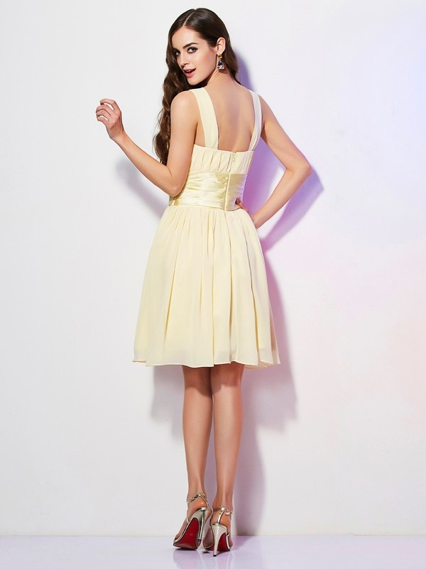 A-Line/Princess Straps Short Chiffon Bridesmaid Dress
