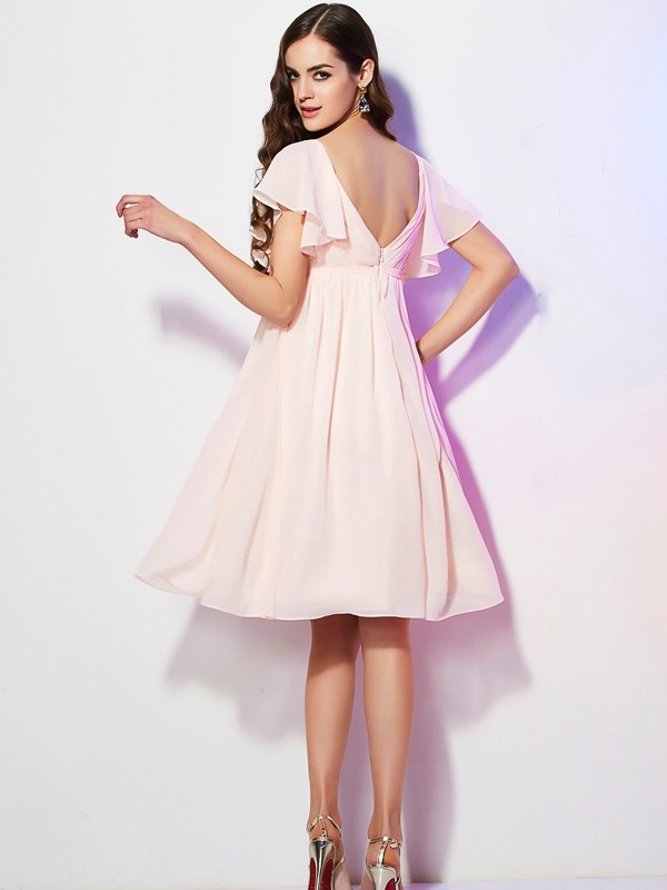 Sheath/Column Sweetheart Short Sleeves Short Chiffon Bridesmaid Dress