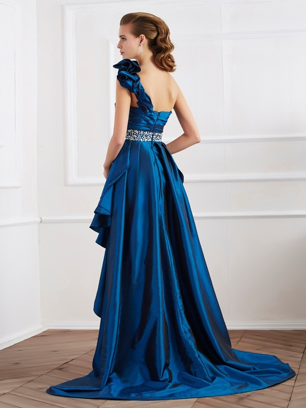 A-Line/Princess One-Shoulder Asymmetrical Taffeta Dress