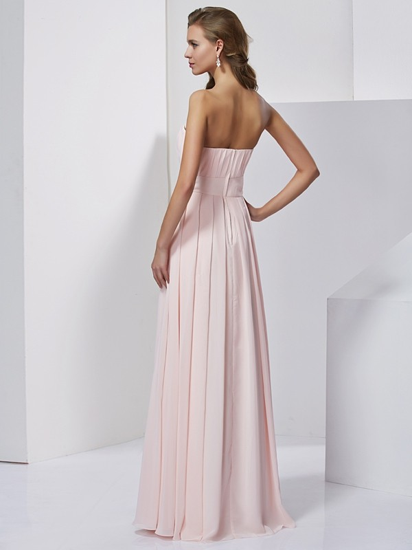 A-Line/Princess Strapless Long Chiffon Dress