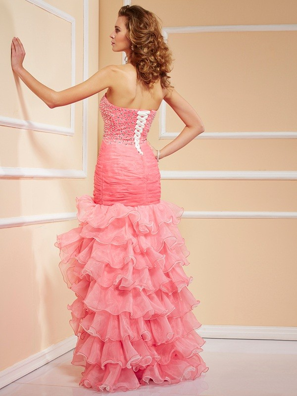 Mermaid Sweetheart Asymmetrical Organza Dress