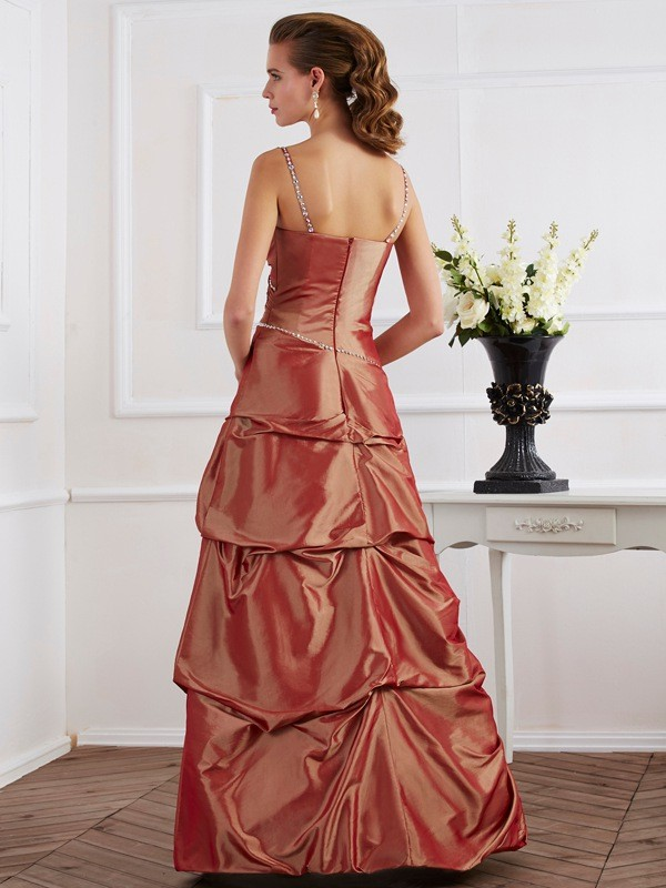 Sheath/Column Spaghetti Straps Long Taffeta Dress