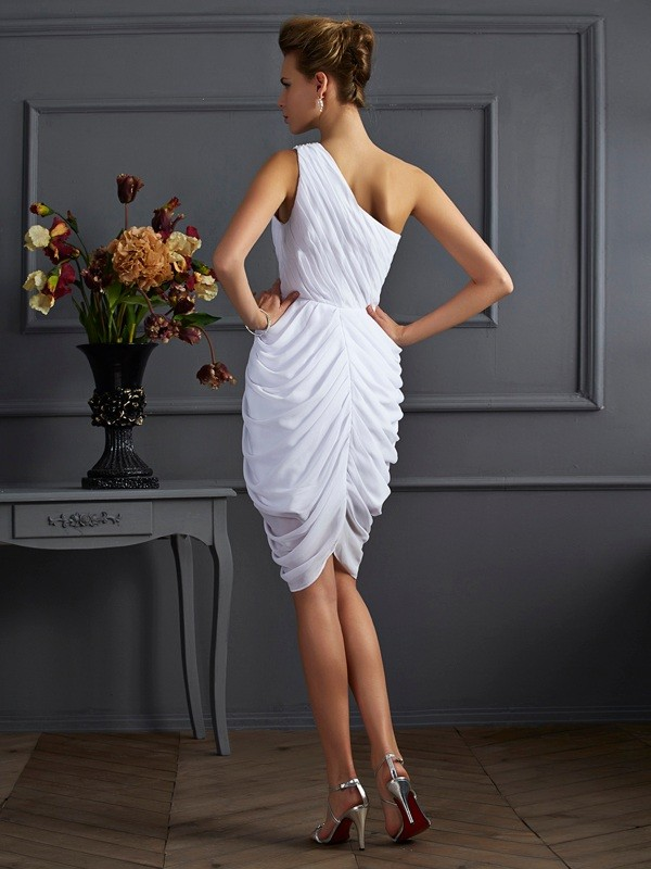 Sheath/Column One-Shoulder Short Chiffon Cocktail Dress
