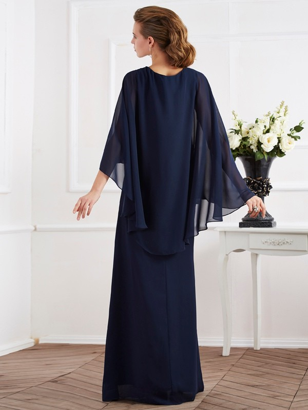 A-Line/Princess High Neck Long Chiffon Mother of the Bride Dress