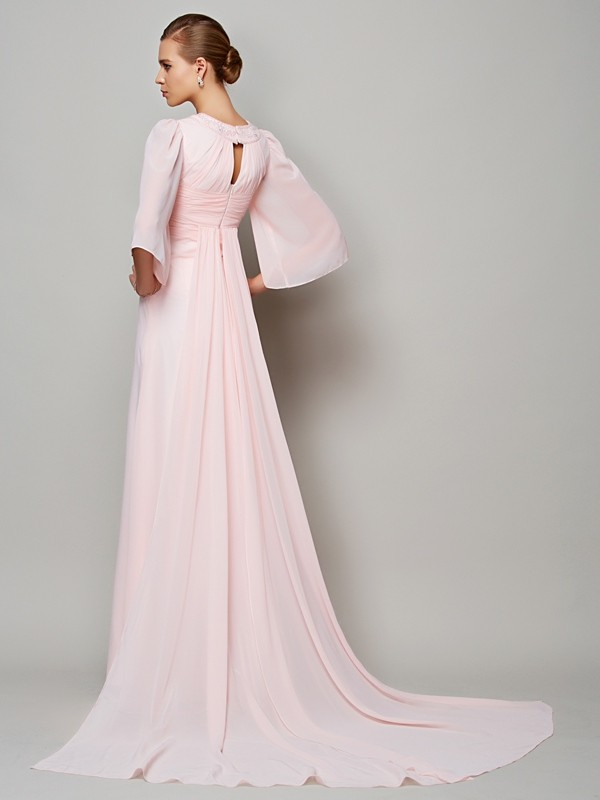 A-Line/Princess High Neck 1/2 Sleeves Long Chiffon Mother of the Bride Dress