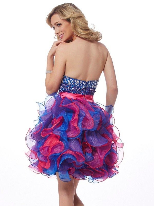 A-Line/Princess Sweetheart Sequins Short Organza Cocktail Dress